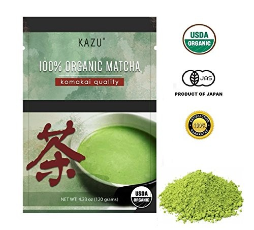 """100% ORGANIC Product of Japan Green Tea Matcha, """"Komakai"""" or""""Drinking Quality"""" (BETTER THAN Culinary Quality, NO BITTERNESS, FLOWERY AROMA, EXTRA-FINE POWDER)"""