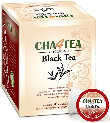 Cha4TEA K-Cup Premium Natural Black Tea, 36-Count Keurig K Cups