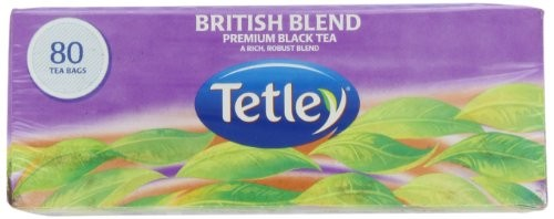 Tetley British Blend Premium Black, 80-Count Tea Bags, 7 Ounce, (Pack of 6)